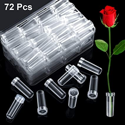 72 Pieces Floral Water Tubes Clear Plastic Flower Vials with Caps in Clear Plastic Box for Flower Arrangements 4 cm Length