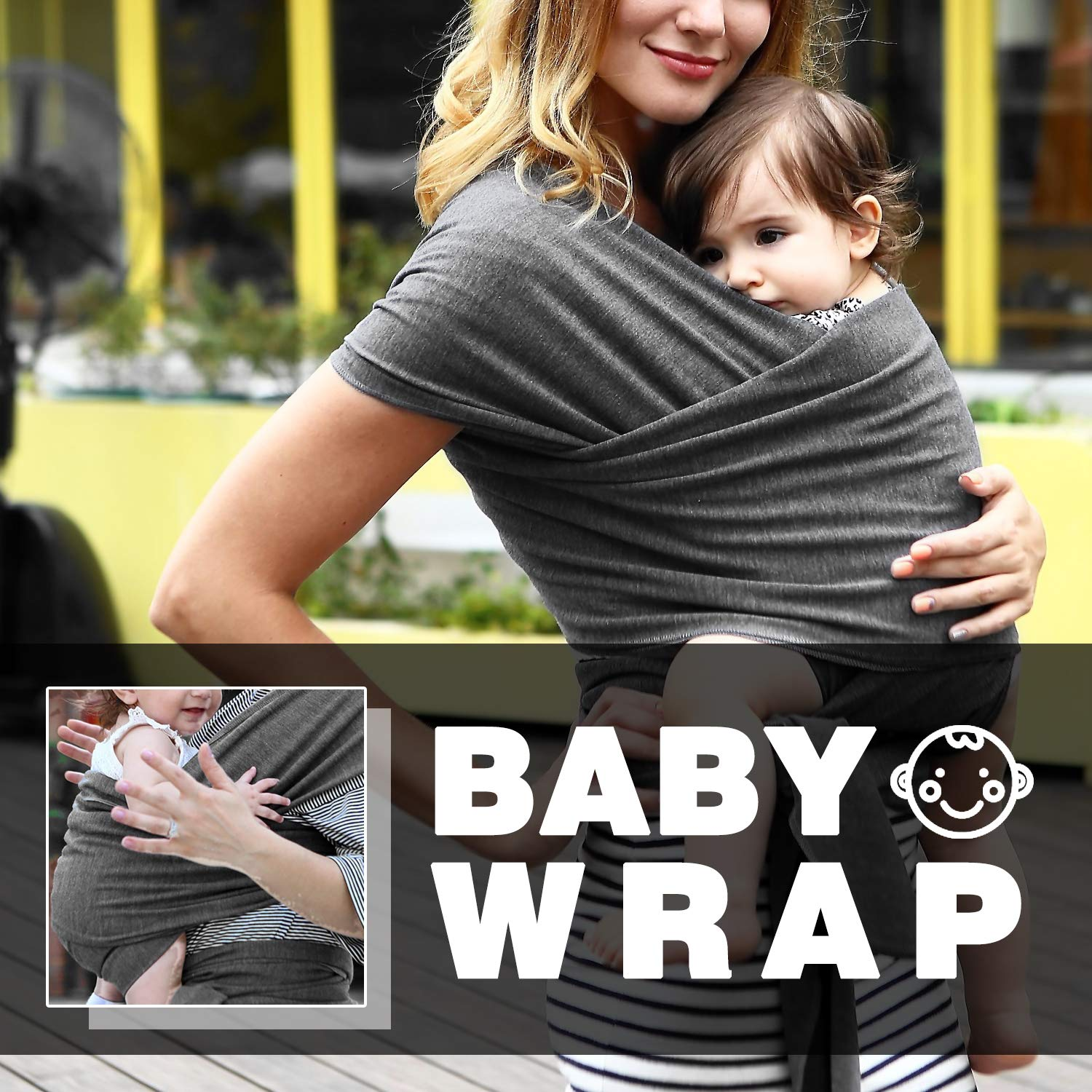 Heather Grey Breathable /& Comfortable Extra Soft Stretch Cotton Baby Carrier Sling and Wraps for Newborn Zooawa Baby Wrap Carrier