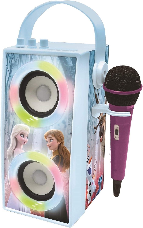LEXIBOOK- Disney Frozen-Altavoz portátil Bluetooth micrófono, Efectos de luz, Karaoke, inalámbrico, USB, Tarjeta SD, batería Recargable, Azul