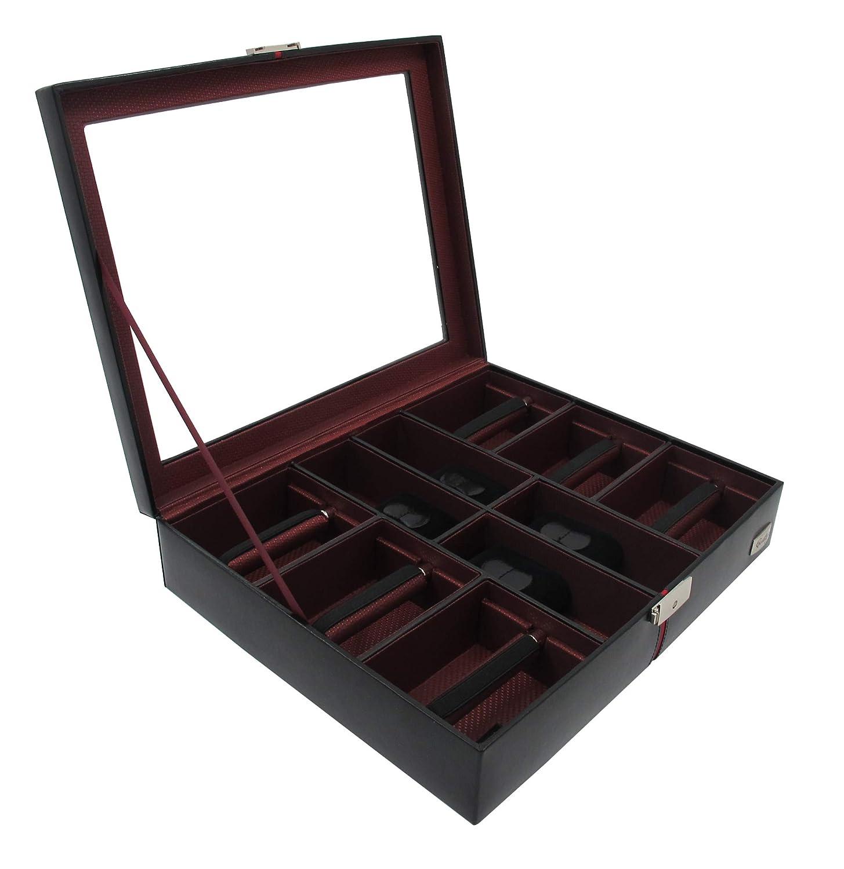 Cordays Estuche Relojero y Corbatero de Piel con Vitrina Cristal y Cerradura – Calidad Premium – Caja Organizadora para 4 Relojes y 6 Corbatas - Hecho a Mano - en Color Negro CDM-00006