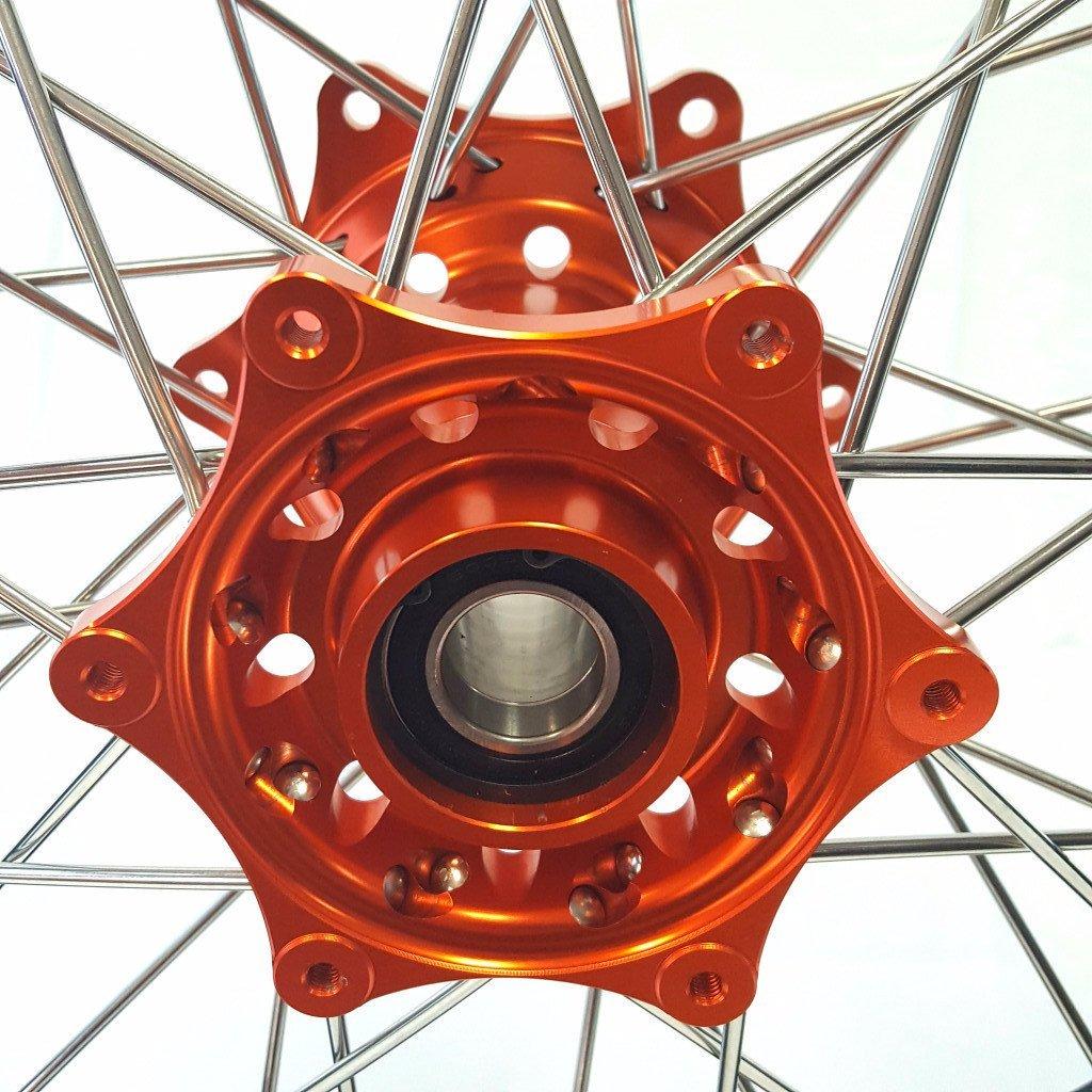 MojoMotoSport - KTM Complete Front/Rear Wheel Set 1.6 x 21 / 2.15 x 19 Black Rim/Silver Spoke/Orange Hub | MOJO-KTM-WS-ORG-2119 by MojoMotoSport (Image #2)