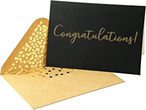 "50 Pack Congratulations Card – Elegant Greeting Cards With ''Congratulations'' Embossed In Gold Foil Letters – For Engagement, Graduation, Wedding - 52 Kraft Envelopes Included – 4"" x 6"" - Black"