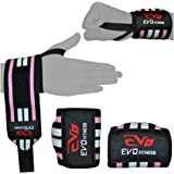 EVO Ladies Pink Elasticated Gym Straps Weightlifting wrist Support Wraps Gloves
