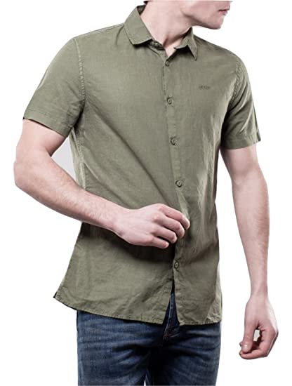 best loved 6310b c258d Guess Camicia Uomo Verde Militare Embroidered Shirt: Amazon ...