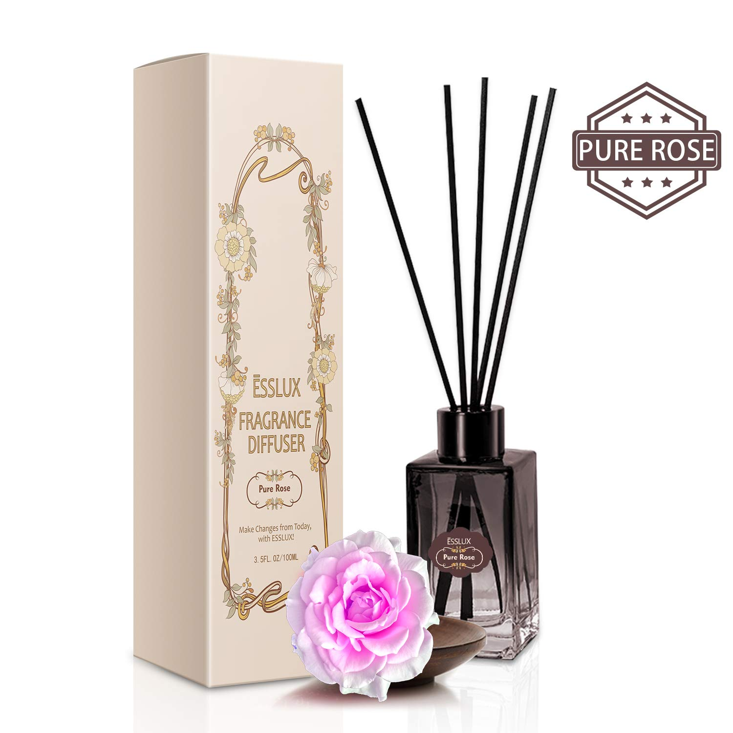 ESSLUX Scent Diffuser, Room Reed Diffuser Premium Quality for Home and Office, Air Freshener & Home Decor & Ideal Gift-Pure Rose by ESSLUX (Image #1)