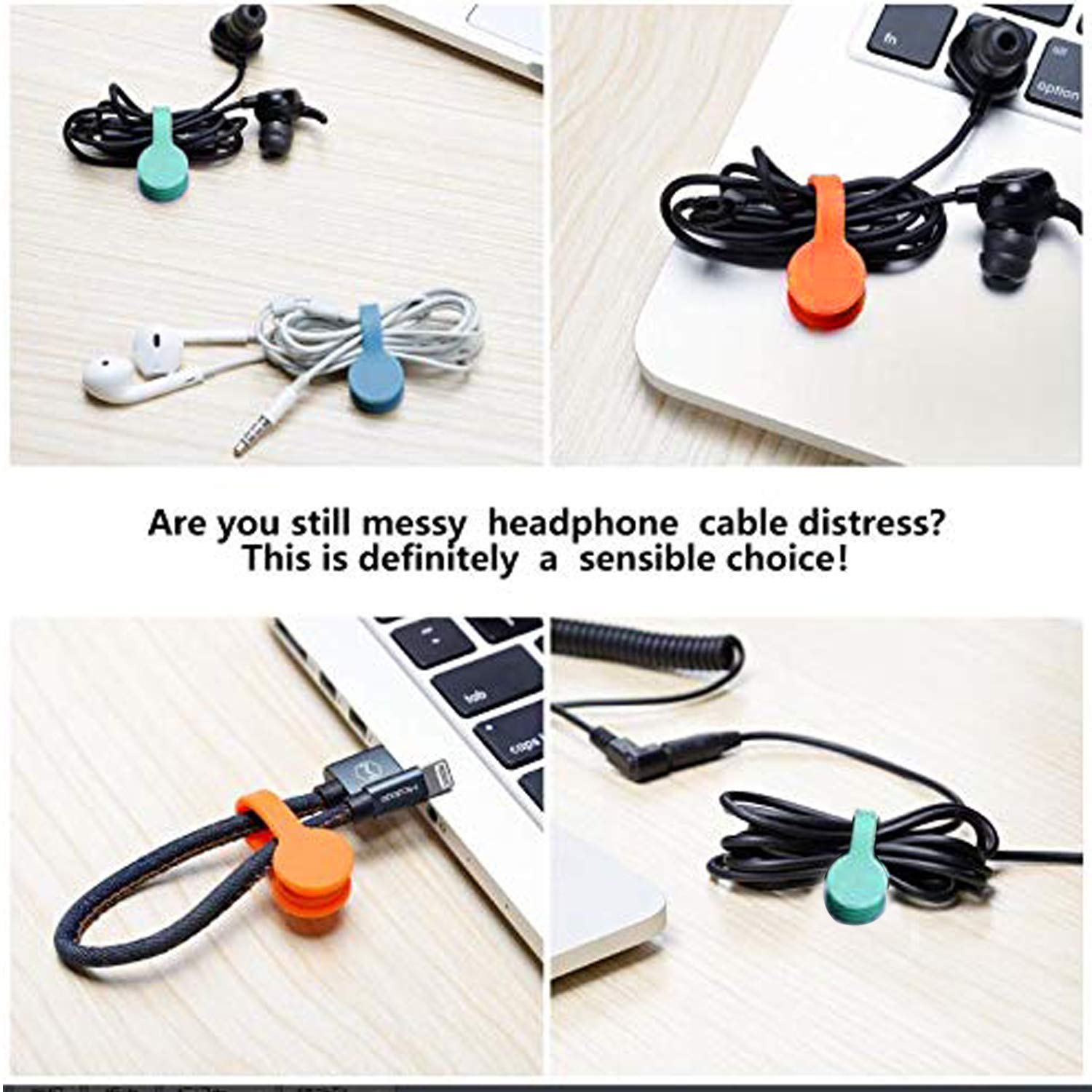 8 PCS Magnetic Earphone Winder, Aproo Magnetic Cord Winder Wrap for Headphones/Date USB Cable,Soft Silicone Earphone Cable Clips Organizer for iPhone/iPad/Galaxy, Also Use as Bookmarks/Keychain