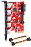 Inateck PCI-E to USB 3.0 (5 Ports) PCI Express Card and 15-Pin Power Connector, Red