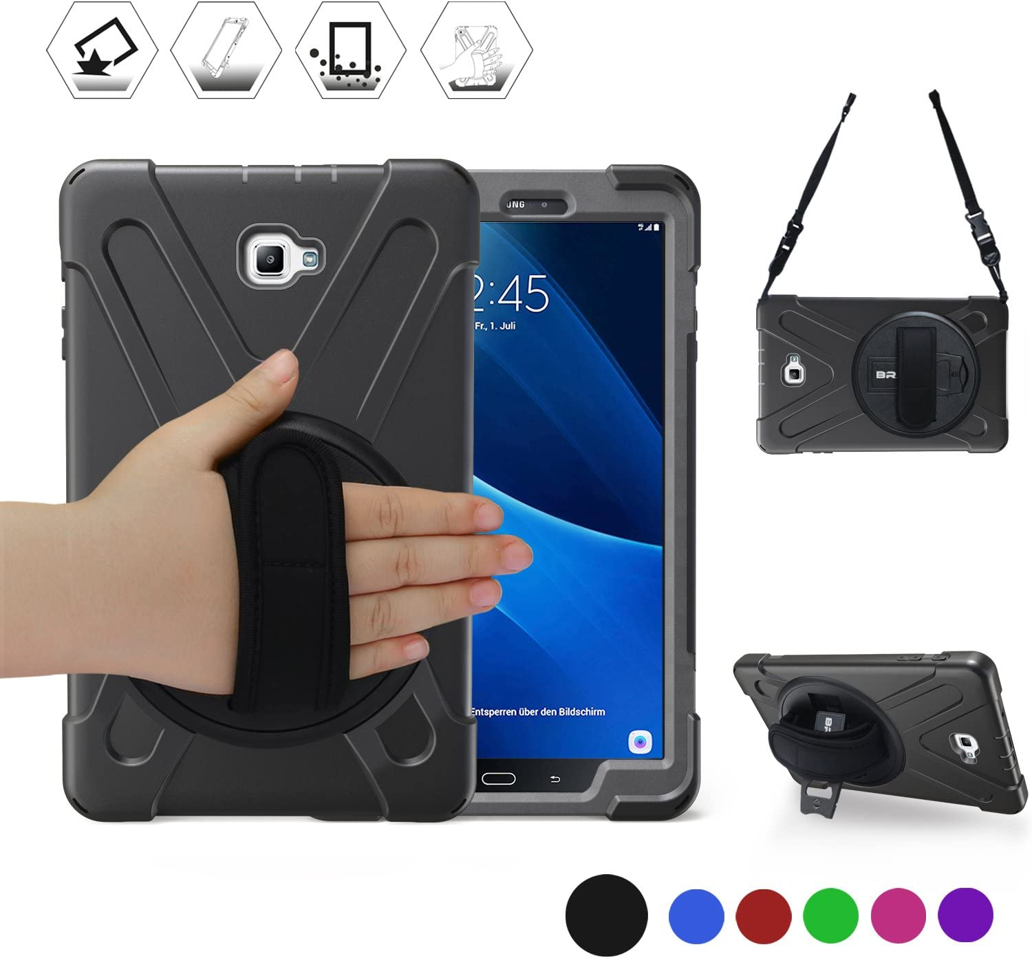 BRAECN Galaxy Tab A 10.1 Case 2016, Heavy Duty Shockproof Kids Friendly Case with Rotating Hand Strap, Kickstand, Carrying Shoulder Strap for Samsung Galaxy Tab A 10.1 2016 Model SM-T580 SM-T585-Black
