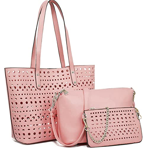 YNIQUE Womens Handbags Shoulder Bag Top Handle Purse Designer Tote Bag 3 Bags Set With Cute Plush Bunny