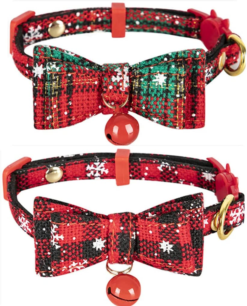 North Pole Christmas Cat Collar with Bow Tie Breakaway Cat Collar  Kitten Collar  Dog Bow Tie
