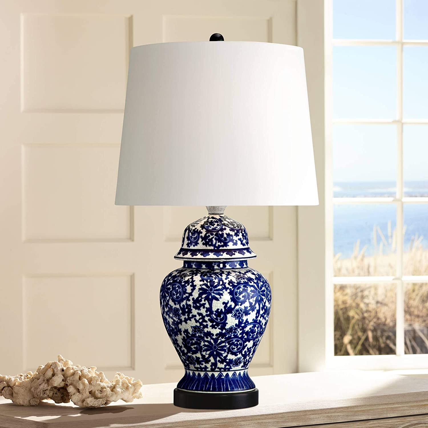 Asian table lamp temple porcelain jar blue floral white drum shade for living room family bedroom bedside nightstand regency hill amazon com