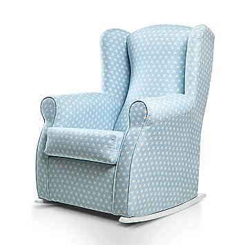 SUENOSZZZ-ESPECIALISTAS DEL DESCANSO Olivia Sillon tapizado, sillón Lactancia Materna. Sillon tapizado en Tela Estampada Color Azul, Estrellas ...