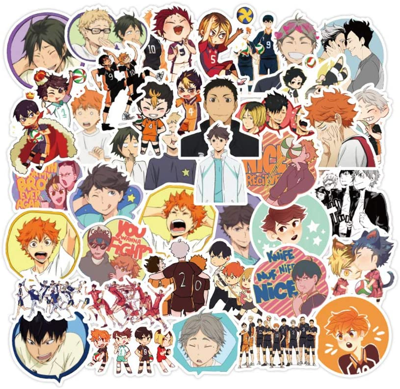 50 Pcs - Haikyuu Stickers Pack Novelty Anime Waterproof Vinyl Stickers Decals for Laptop Phone Case Water Bottles Skateboard Car Guitar Luggage (50-PCS)