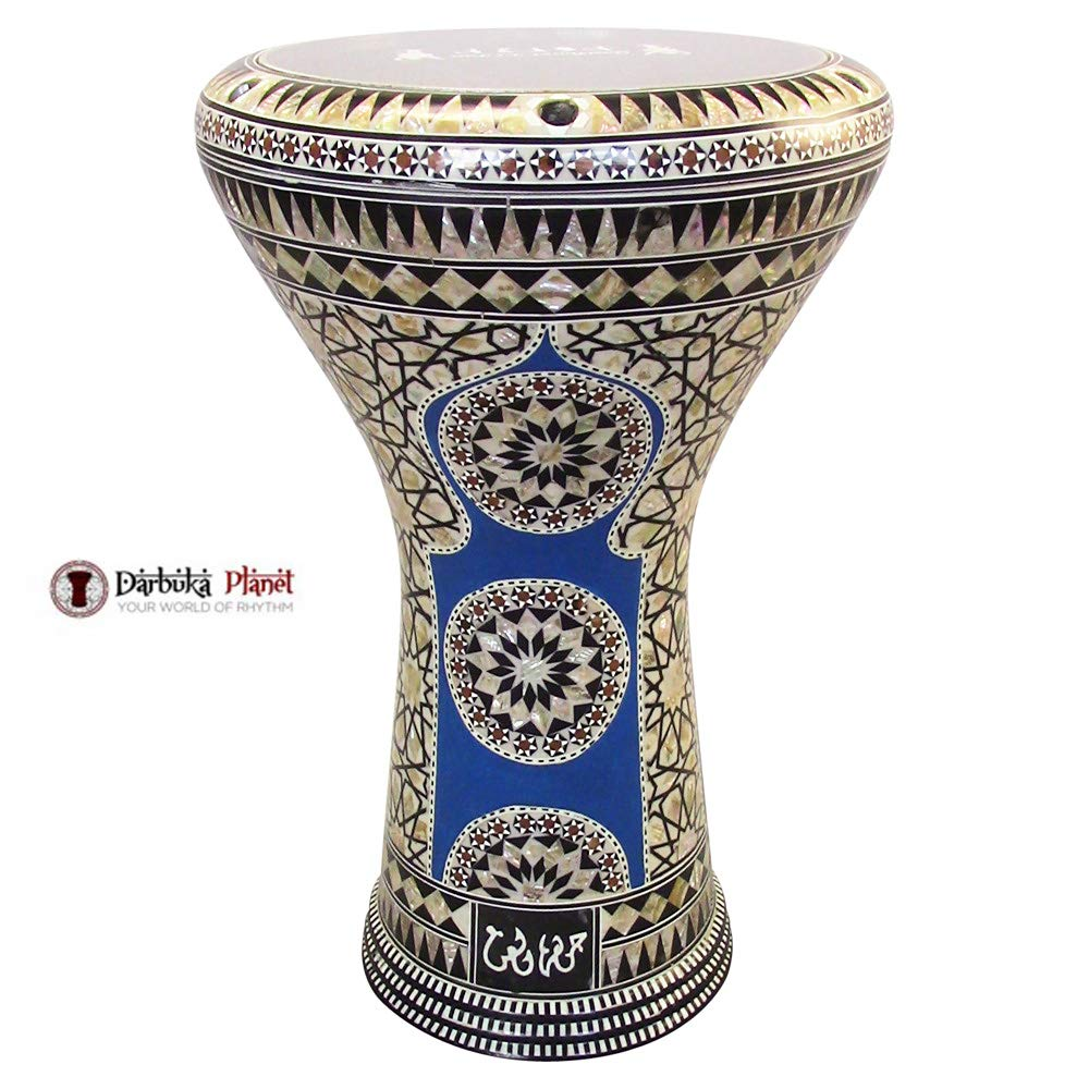 Gawharet El Fan 17'' Mother of Pearl Darbuka''Blue Stars'' Darbuka Drum Percussion