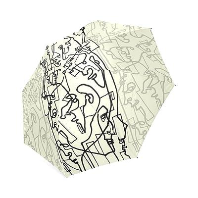 Kitchor Custoimzed Curves And Lines Foldable Travel Umbrella
