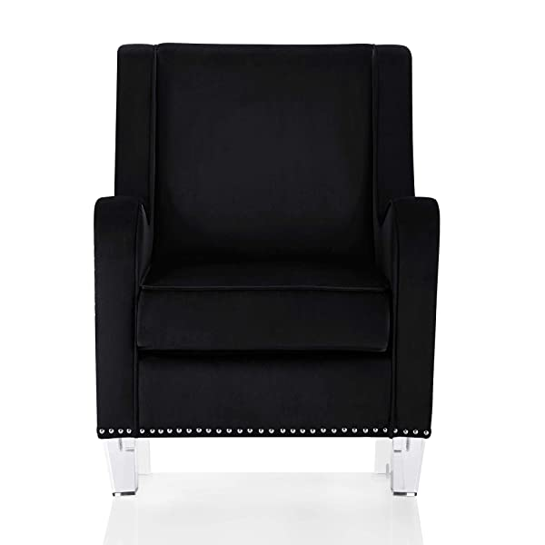 CosmoLiving Nixon Modern Velvet Fabric Upholstered Accent Chair with Nailhead Trim and Acrylic Legs, Black