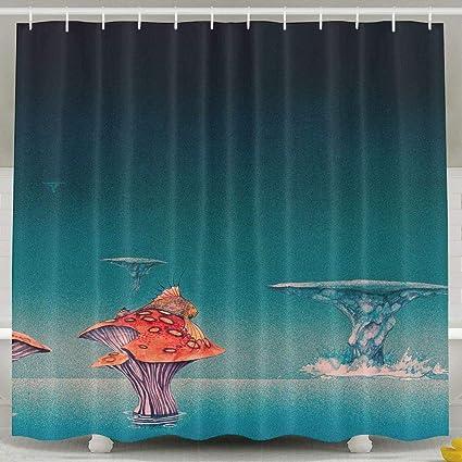 Amazon Waterproof Shower Curtain Fantastic Mushroom Island