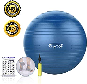Exercise Ball,FayTOP Yoga Ball 65 cm for Fitness, Workout, Balance, Pilates, Birthing. Professional Grade Therapy Balls with Non Slip & Anti-Burst & ...