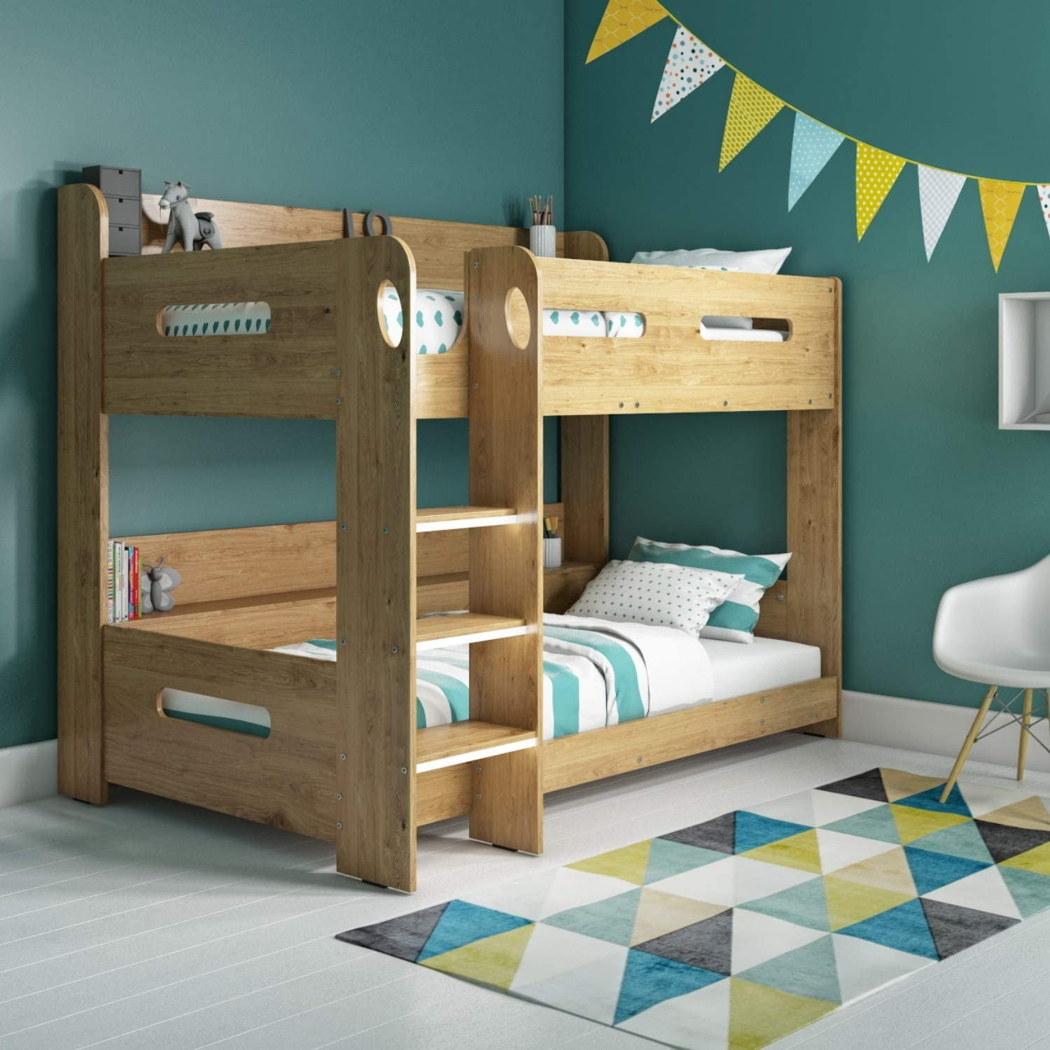 Sky Single Wooden Bunk Bed In Oak Ladder Can Be Fitted Either Side Amazon Co Uk Kitchen Home