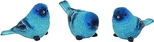 Set of 3 Bluebird Figurines, Indigo Bunting, 3 Poses, Made of Resin, 3.25