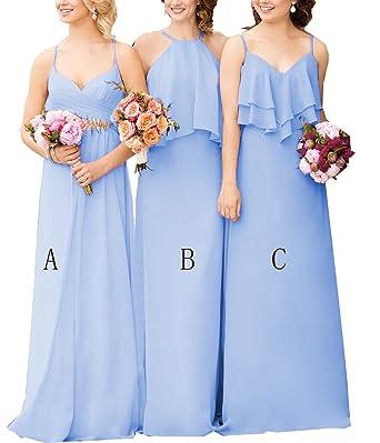 188a738cd liangjinsmkj Women s Chiffon Bridesmaid Dresses Long Straps Boho ...