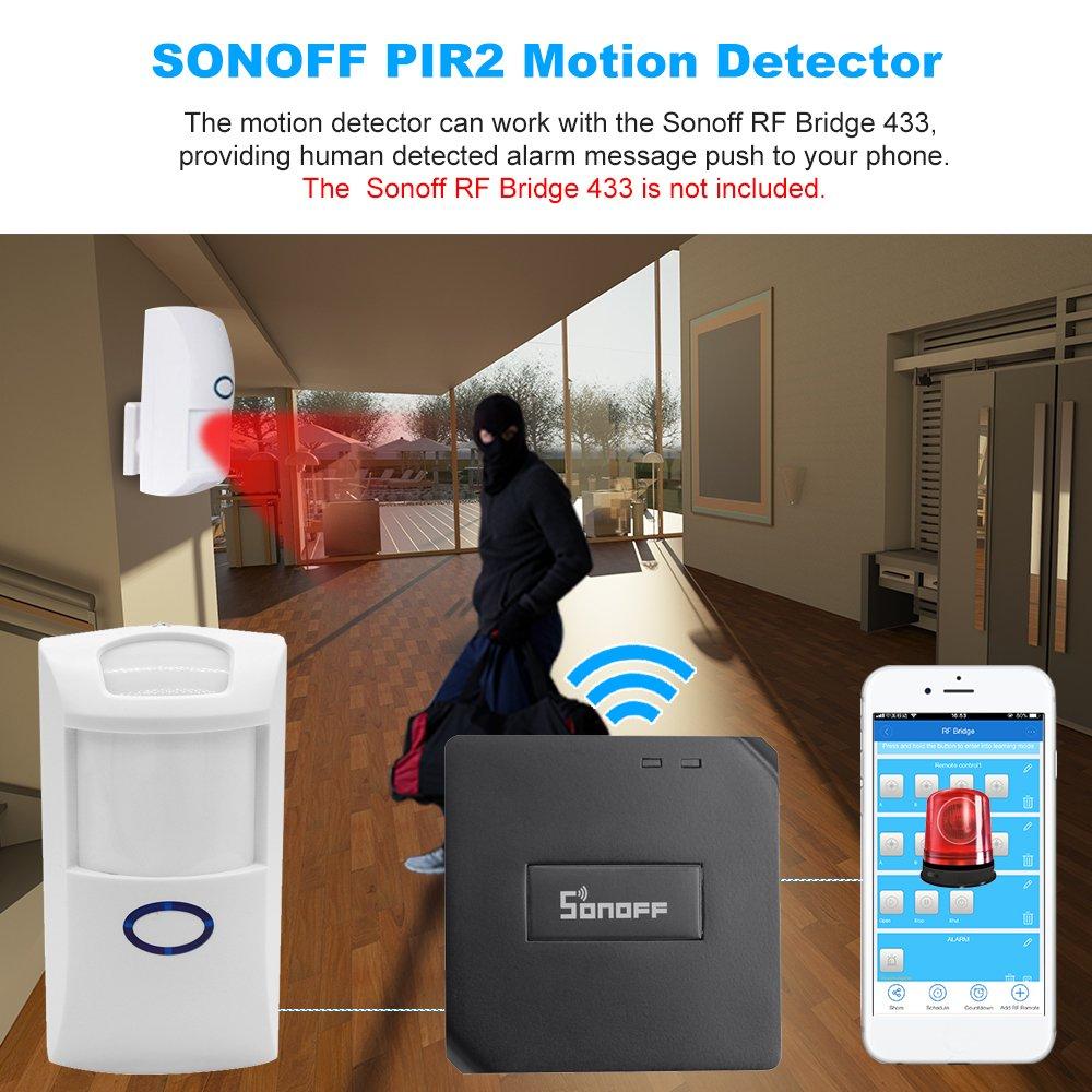 SONOFF Sensores de Movimiento PIR2 Detector Inalámbrico Infrarrojo Dual 433Mhz RF PIR Automatización del Hogar Inteligente Sistema de Alarma de Seguridad: ...