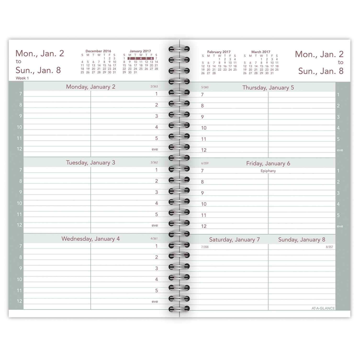 AT-A-GLANCE Weekly Planner 2017 Refill for 70-008, 3-1/4 x 6-1/4'', Black (70-904-10)