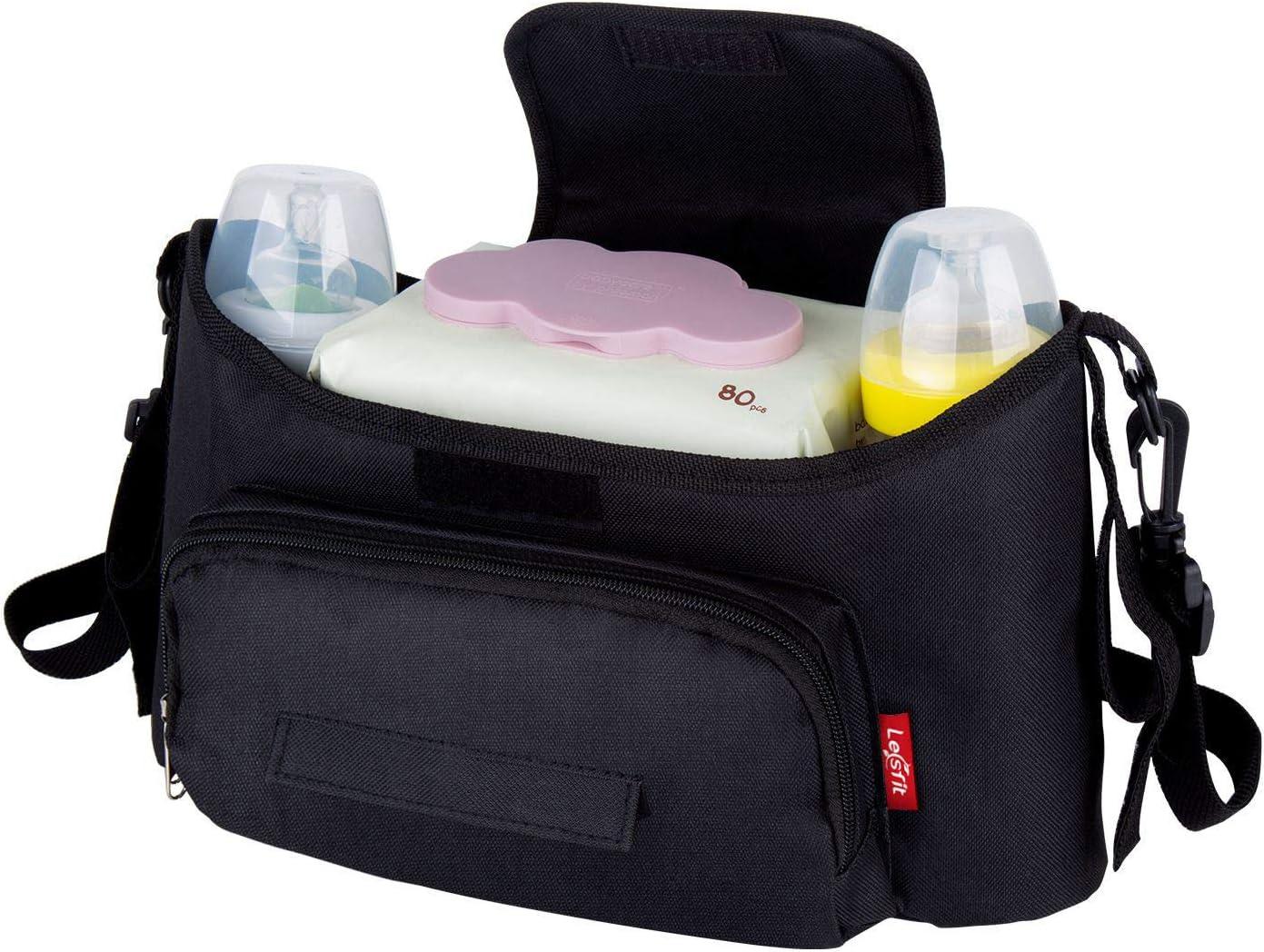 Organizador de Cochecito Bolsa, Lesfit Multifuncional Organizador para Bebé Carrito Impermeable con Dos Aislados para Botellas, Negro