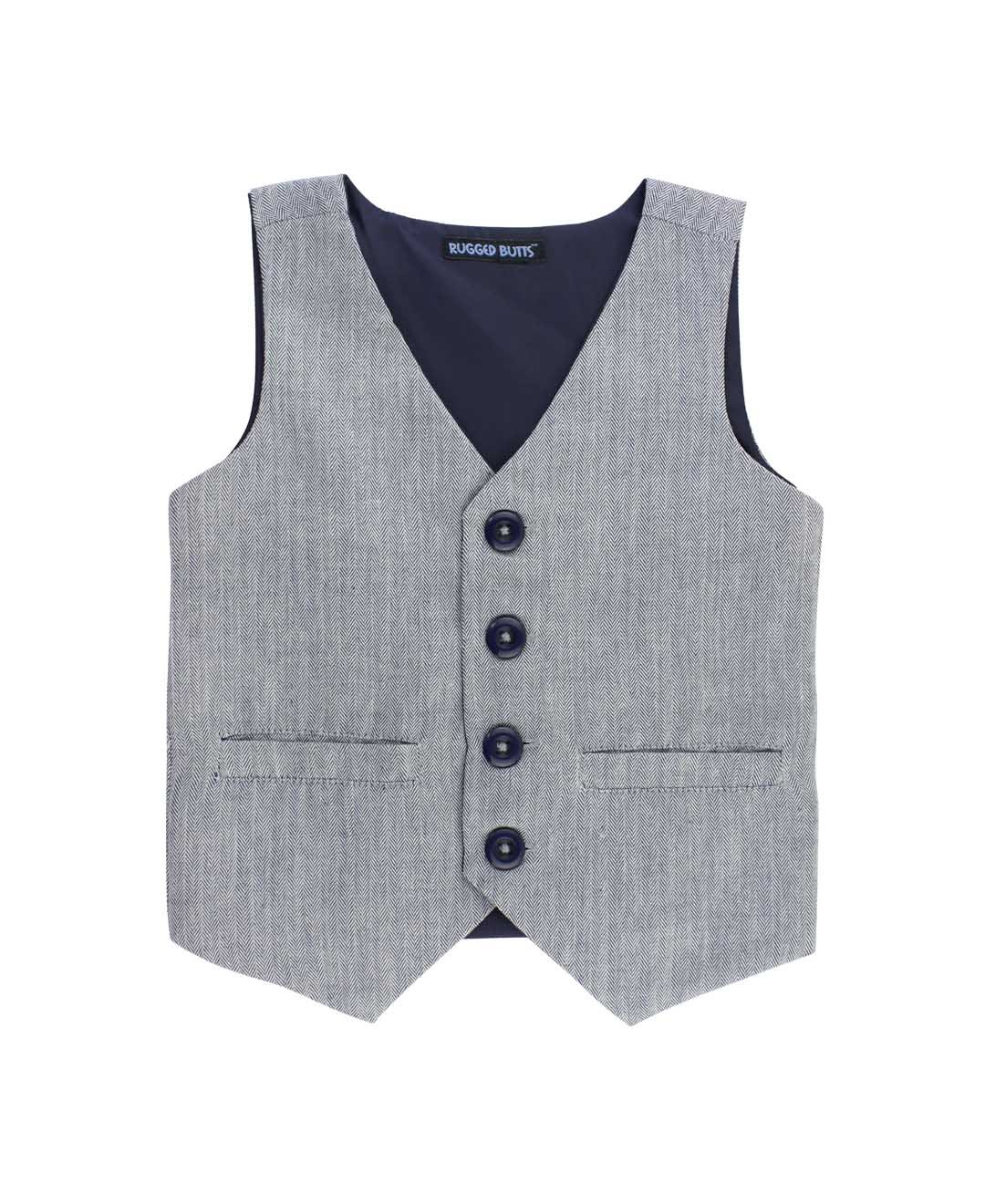 RuggedButts Little Boys Gray Herringbone Formal Vest w/Navy Buttons BVWGYXX-GYHB-TDLR