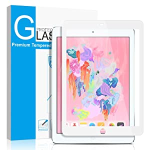 "SMAPP iPad 9.7"" (2018/2017) / iPad Pro 9.7 Inch/iPad Air 2 / iPad Air Screen Protector, Tempered Glass for iPad 6th / 5th Gen Screen Protector [Anti-Scratch] [Colored Border] Apple Pencil Compatible"