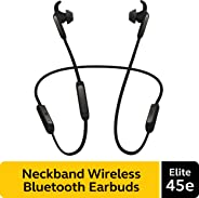 Jabra Elite 45e Wireless Earbuds, Titanium Black – Alexa Enabled, Wireless Bluetooth Earbuds, Around-the-Neck Style with a S