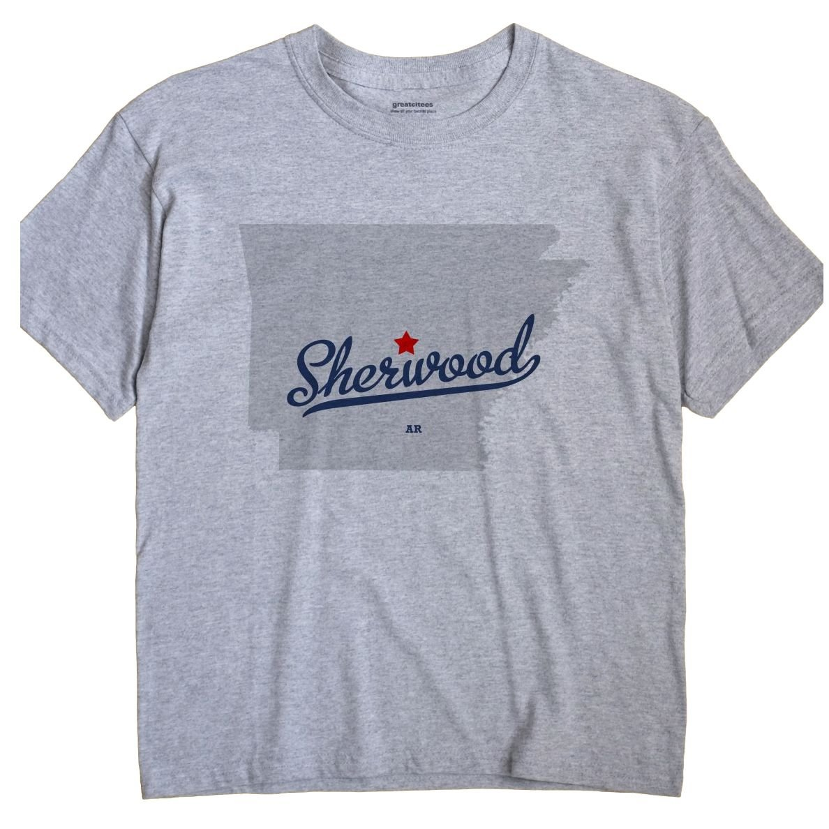Amazon Com Greatcitees Sherwood Arkansas Ar Map Unisex Souvenir T