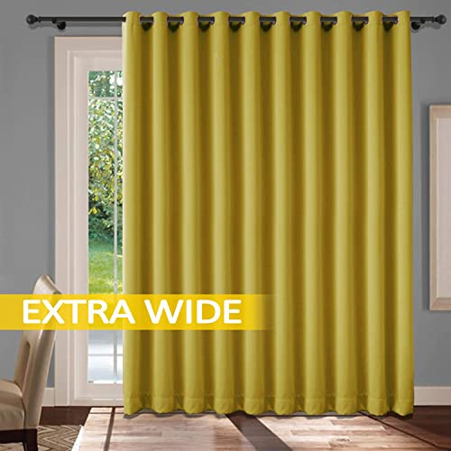 cololeaf Extra Wide Curtains Grommet Top Privacy Room Divider Curtain Thermal Insulated Blackout Curtains Room Darkening Panel for Sliding Door – Yellow 150W x 96L Inch 1 Panel