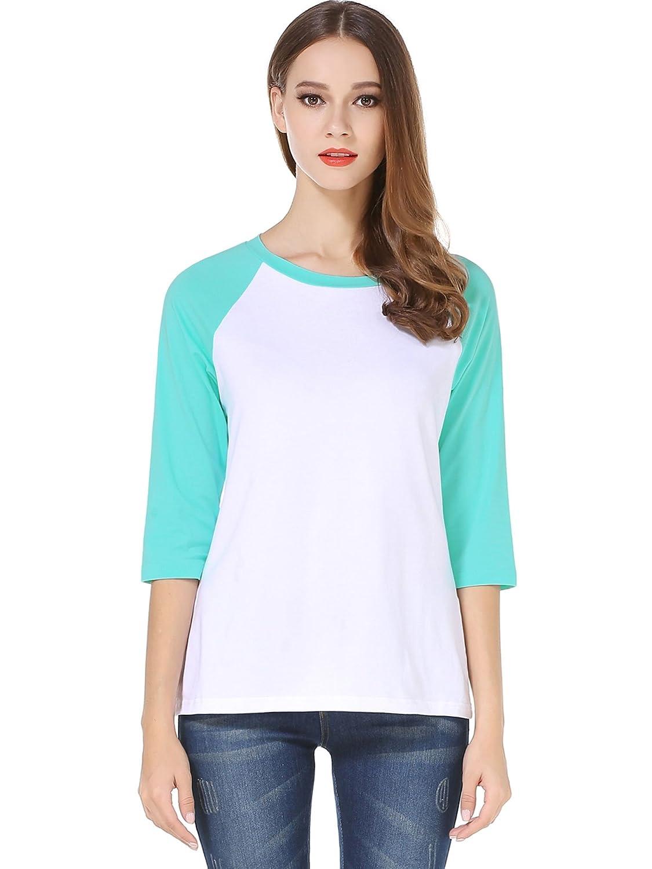 HUHOT Cotton Crew Neck 3/4 Sleeve Jersey Shirt Baseball Tee Raglan T-Shirts