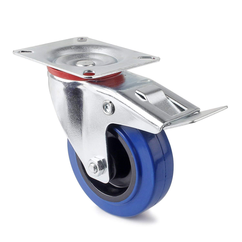 4 Stück Transportrollen mit Bremse Blau Lenkrollen Rollen Schwerlastrollen 300KG