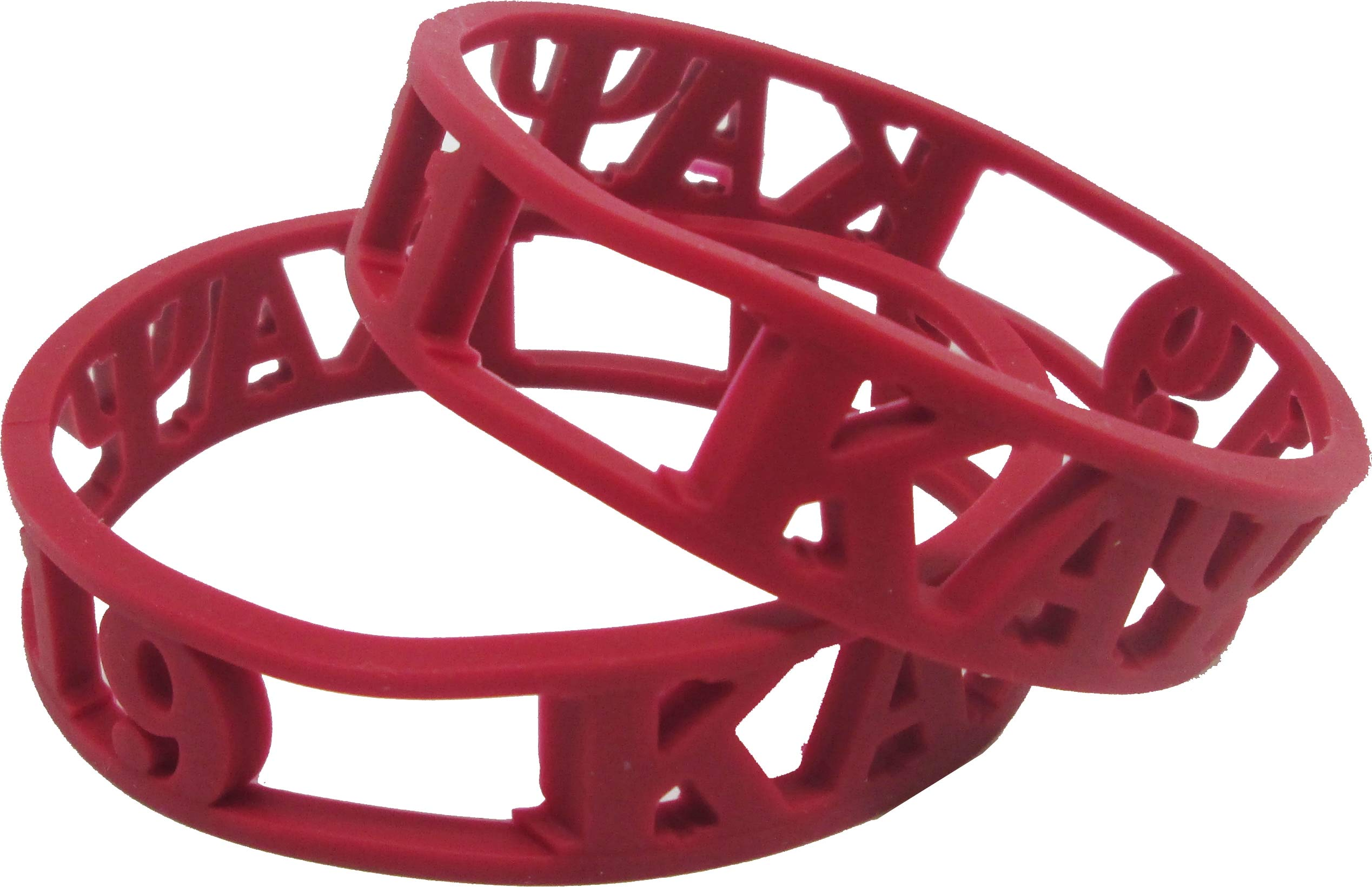 Cultural Exchange Kappa Alpha Psi 3D Cut Out Silicone Bracelet [Pack of 2 - Red] by Cultural Exchange (Image #2)