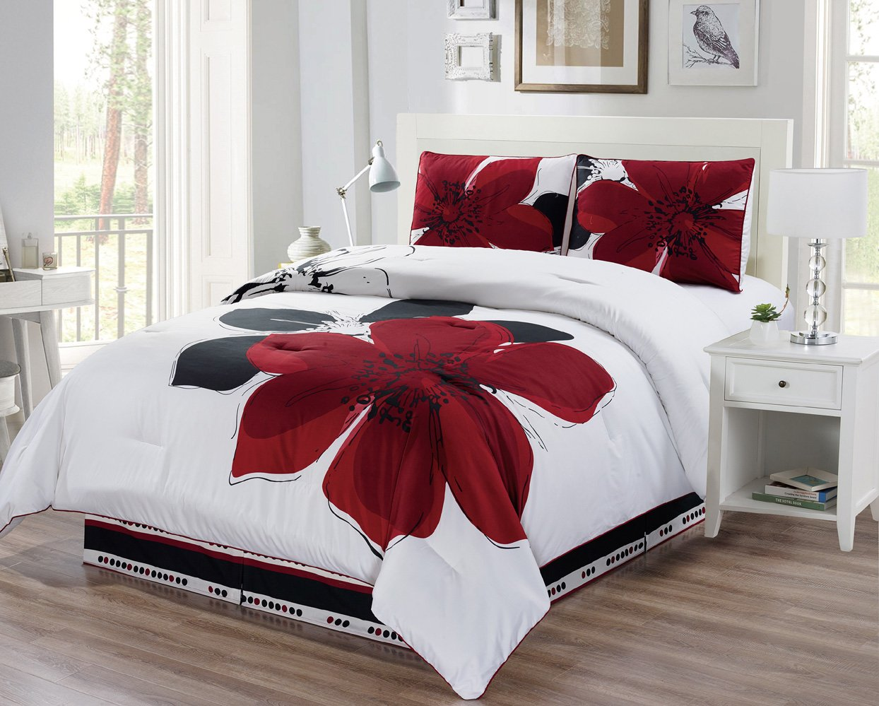 4-Piece Fine printed Comforter Set Reversible Goose Down Alternative Bedding KING (Burgundy Red, Black, White, Grey