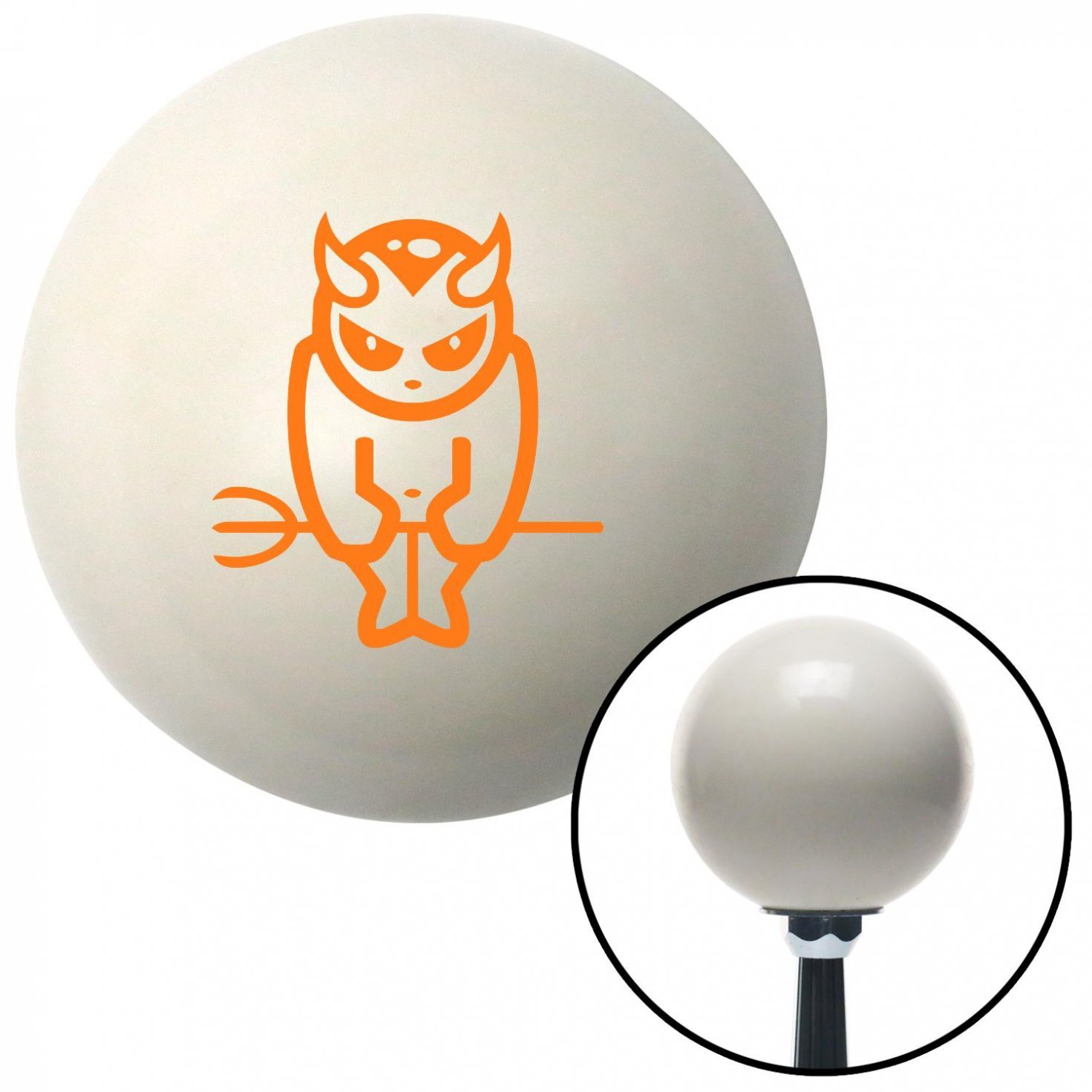 Orange Devil Holding a Pitch Fork American Shifter 32323 Ivory Shift Knob with 16mm x 1.5 Insert