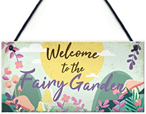 "Meijiafei Welcome to The Fairy Garden Hanging Plaque Garden Shed Summerhouse Sign Gifts for Her 10"" X 5"""