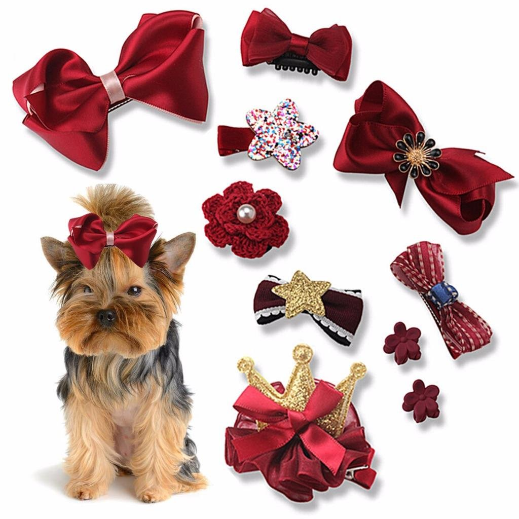 10 Pcs/Set Dog Hair Clips Small Bowknot Pet Grooming Products Mix Colors Varies Patterns Pet Hair Bows Dog Accessories by HONGTIAN Clarity Deal