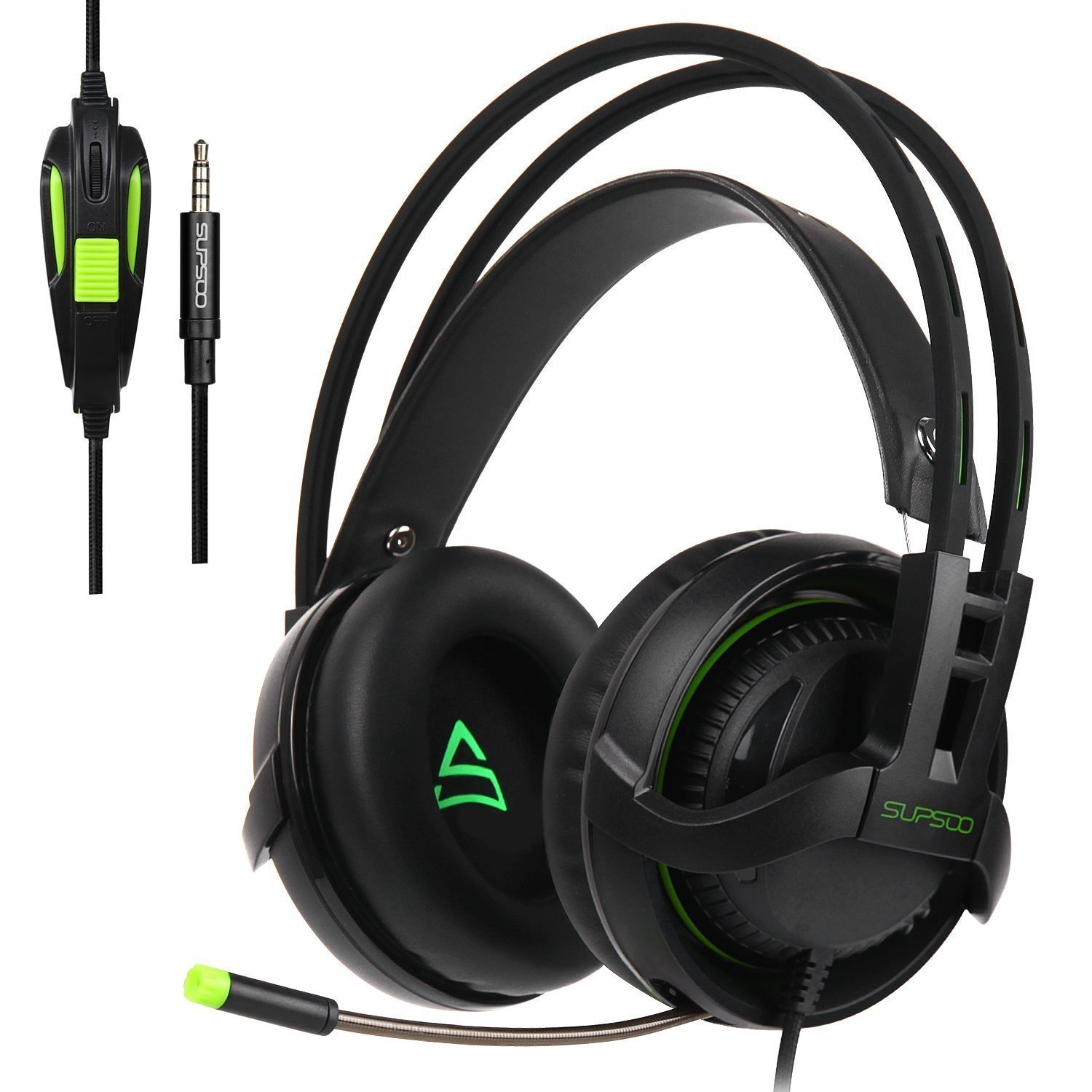 [2017 Newly Updated ] Supsoo SU810 Multi-Platform Gaming Headset With Mic 3.5MM Jack IN-LINE Volume Control Over-ear Gaming Headphones For New Xbox One/PC/Mac/PS4/Smartphones(black) …