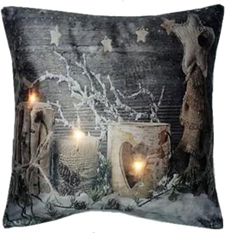 Luxury Illuminated Candles Christmas Xmas Led Light Up Cushion With Fillings 18 X 18 Amazon Co Uk Kitchen Home