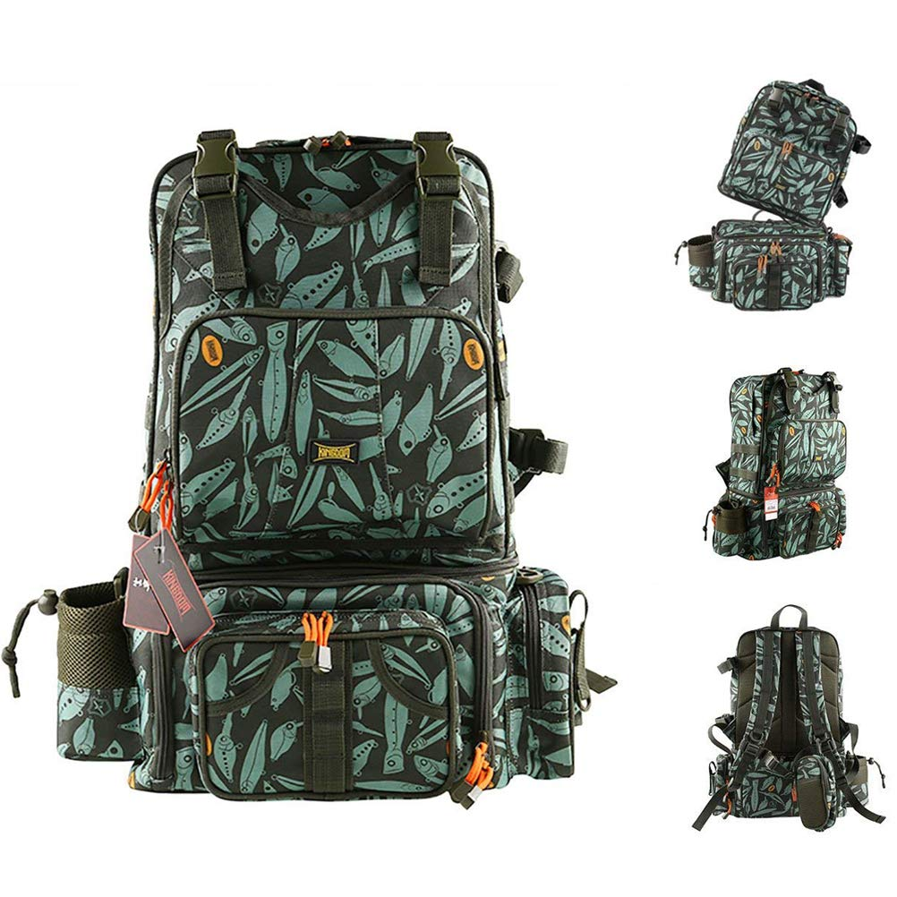 Kingdom Multifunctional Fishing Backpack - Detachable Combination Lure Backpacks Fishing Gear Storage with Phone Bag - Large Tackle Bag
