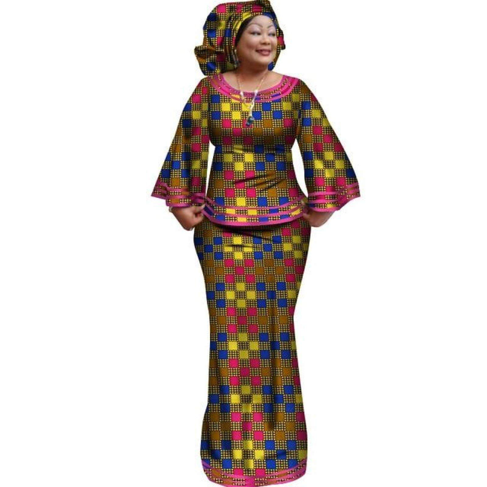 African Style Women Top and Long Skirt for with Matching Scarf