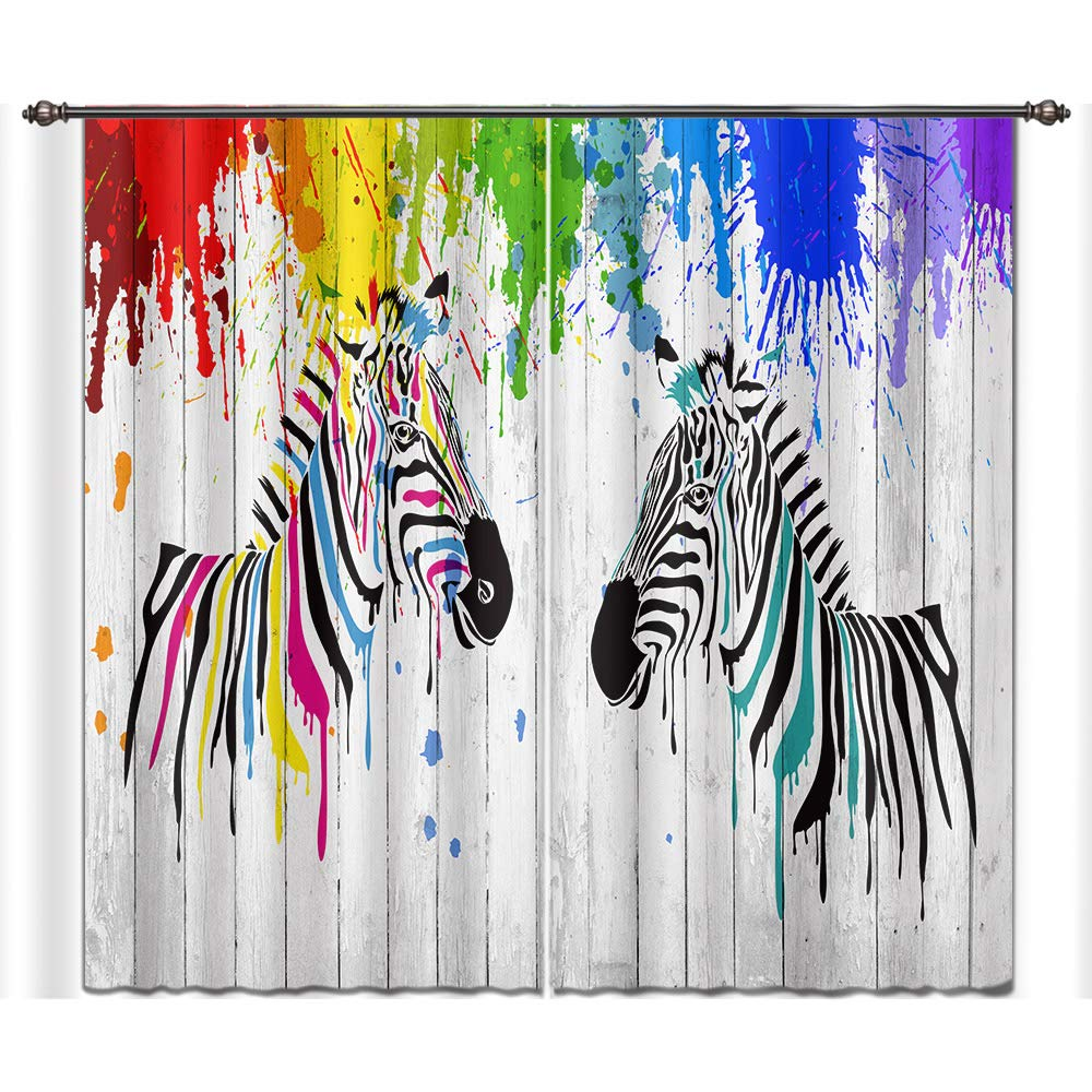 LB Animal Decor Room Darkening Thermal Insulated Blackout Curtains,Colorful Zebra 3D Window Curtains Drapes Living Room Bedroom 2 Panels Set,28 in Width 65 inch Length