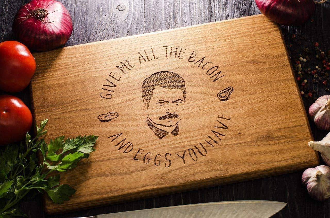 Ron Swanson Cutting Board Personalized, Parks and Recreation Cutting Board Give me all the bacon and eggs you have Engraved Birthday Father Gift Christmas tornado04
