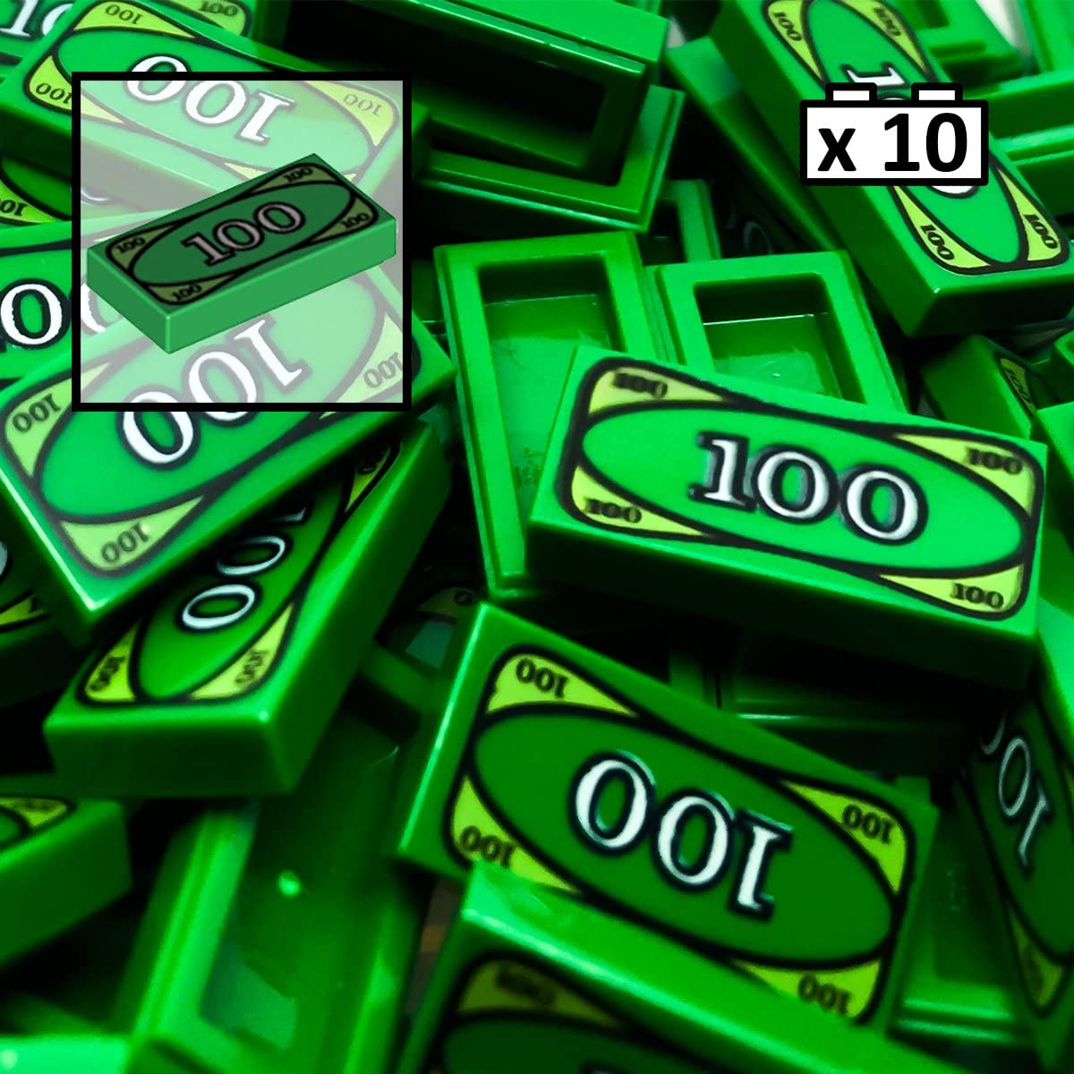 LEGO Compatible $100 Dollar Bill Tile x 20  Green Money Robber City *UK*