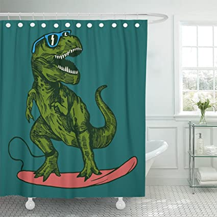Emvency Shower Curtain 72quotx72quot White Dino Happy Dinosaur Surfer Wearing Sunglasses Drawing Surfboard