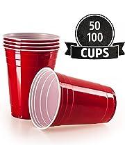 Vivaloo 50 Plastikbecher Trinkbecher - Bierpongset Red Cups, Rote Beer Pong Becher, Partybecher 473ml 16oz