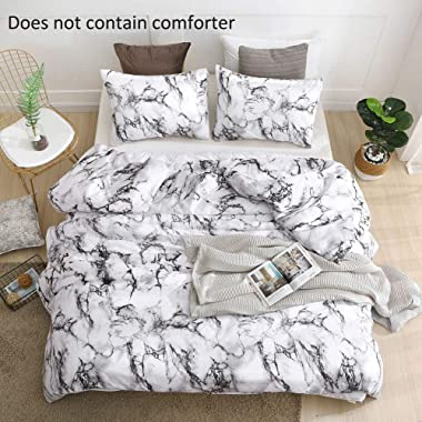 QYsong Marble Duvet Cover Queen (90x90 Inch), 3pc Include 1 Black and White Microfiber Duvet Cover and 2 Pillowcase, Zipper Closure Modern Style Bedding Set for Men and Women
